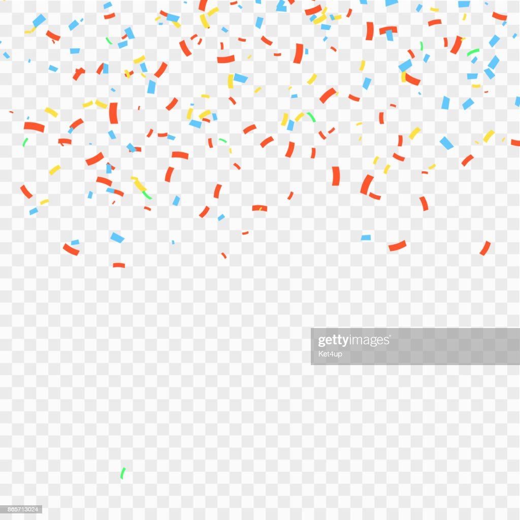 Many Falling Colorful Confetti And Ribbon Isolated. Vector