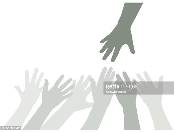 many hands reaching illustration - reaching stock illustrations