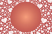 Many hearts vector icon, Frame of white heart on the red background