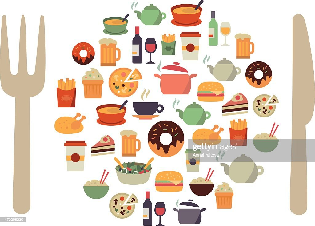 Many illustrations of food icons