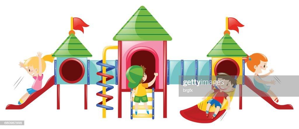 Many kids playing at playstation