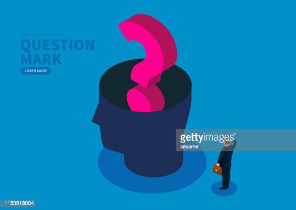 many questions, the question mark is filled with the brain - uncertainty stock illustrations