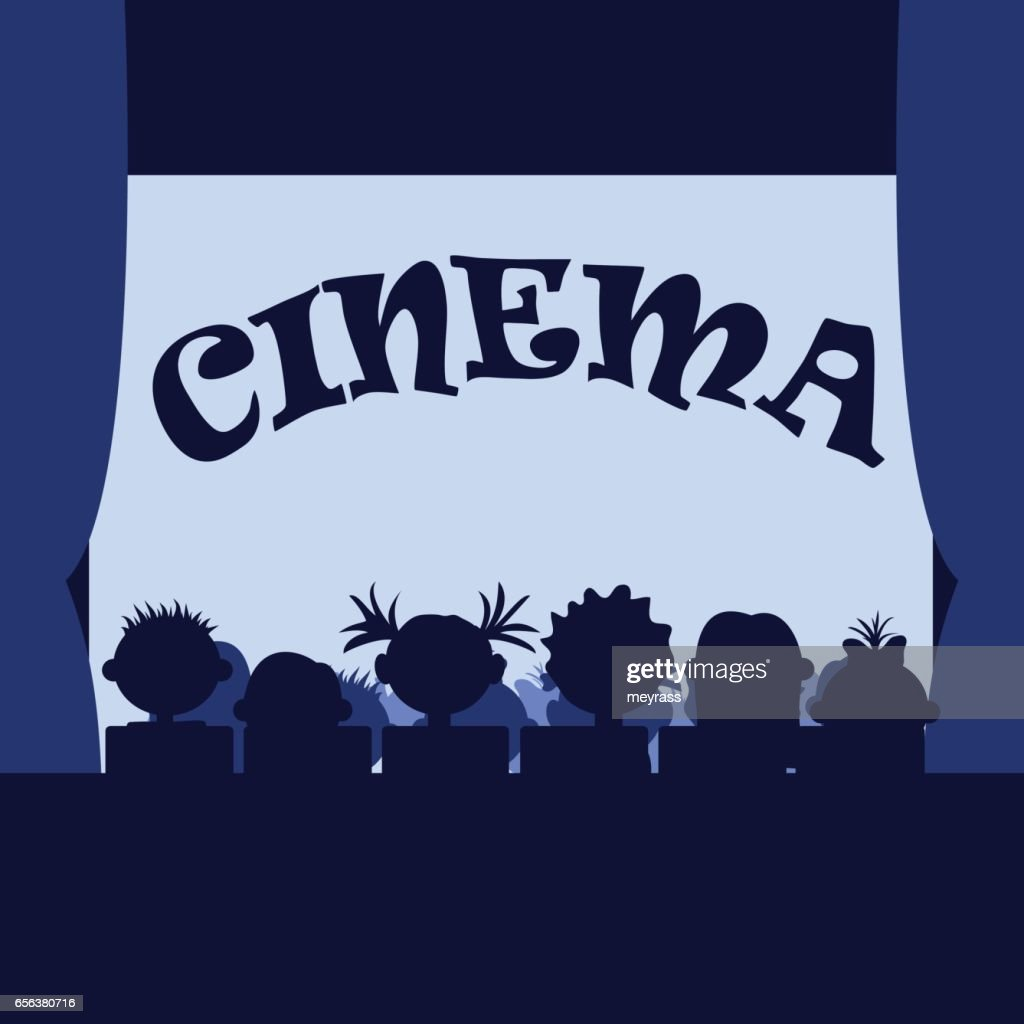 Many small kids in the cinema. Sitting in a row, silhouettes