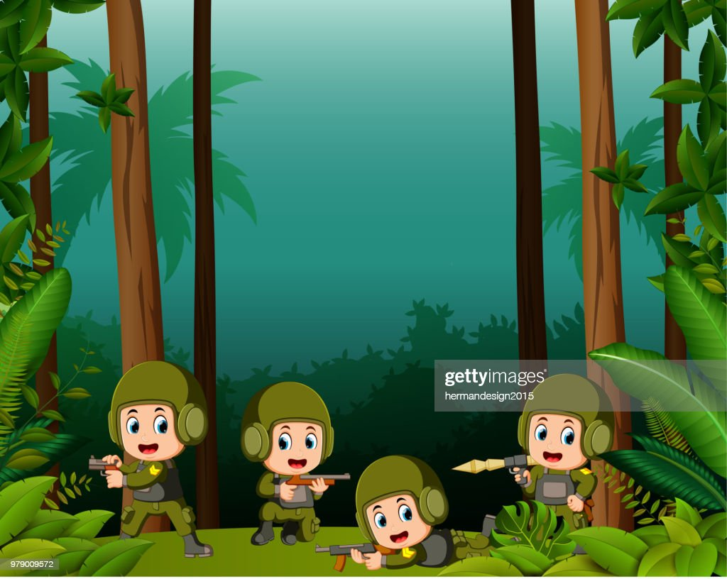 many soldiers in a jungle