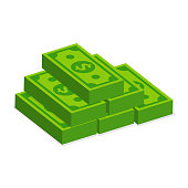 Many stacked dollar banknotes isolate on white background.