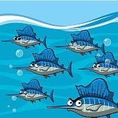 Many swordfish under the ocean