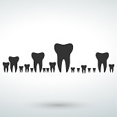 many Tooth Icon Vector icon isolated vector on a white background