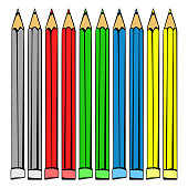 Many-colored pencils 3d
