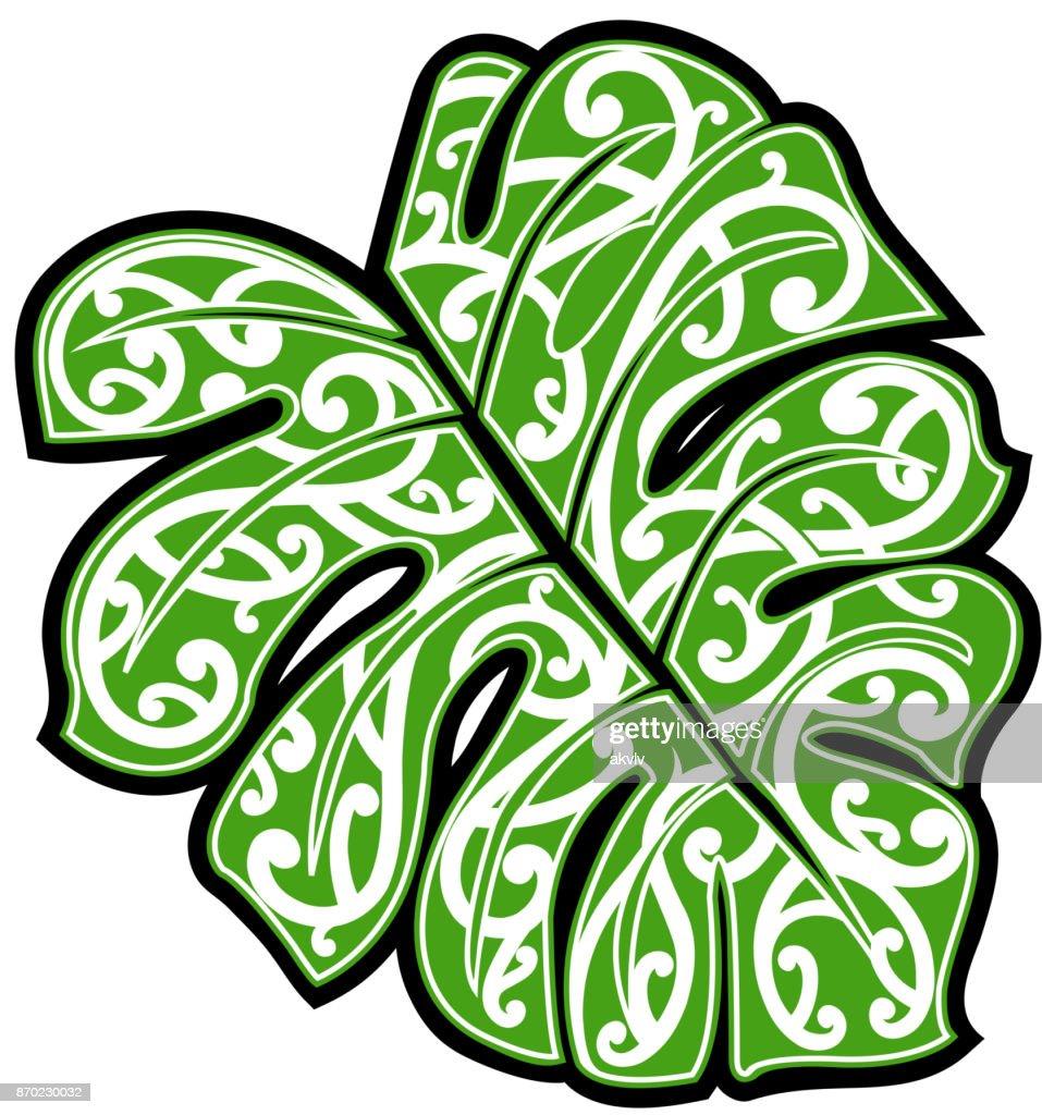 Maori ethnic ornament on monstera leaf
