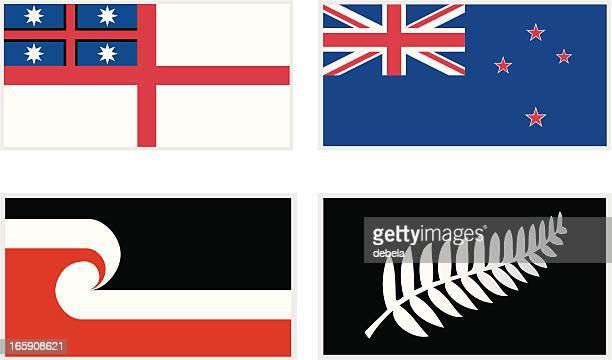 maori flags - flag stock illustrations