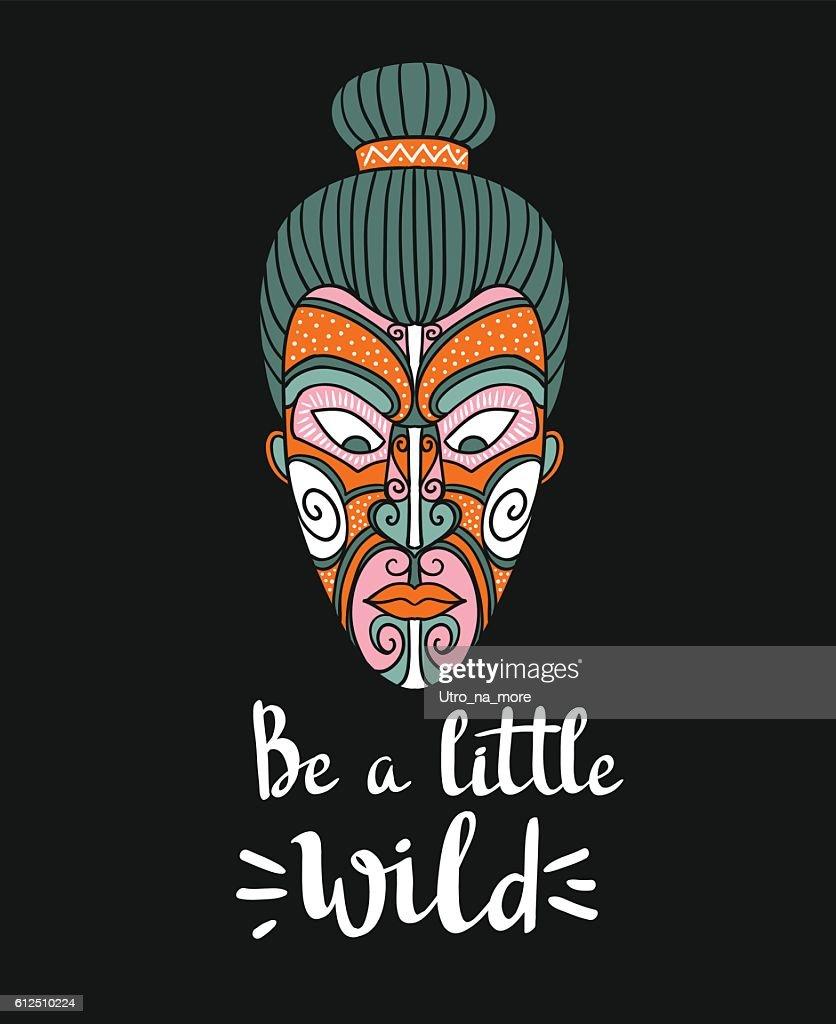 Maori mask. Stylish card with boho lettering.