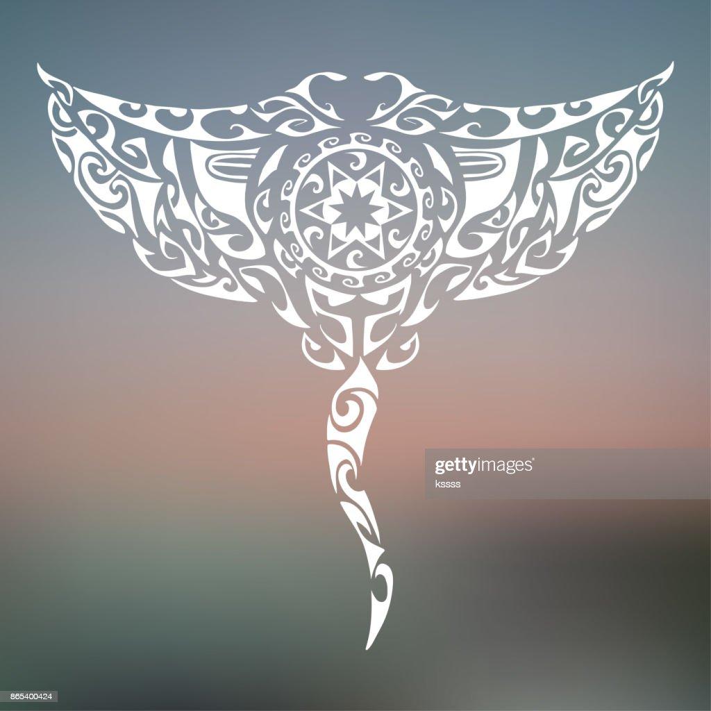 Maori style manta isolated