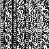 Maori tribal pattern vector seamless. African fabric print. Ethnic polynesian aboriginal art. Mayan monochrome background for boho textile blanket, wallpaper, wrapping paper and backdrop template.
