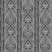 Maori tribal pattern vector seamless. African fabric print. Ethnic polynesian aboriginal art. Aztec black white background