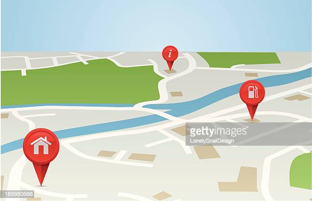 map 3d - straight pin stock illustrations, clip art, cartoons, & icons