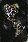 Map America vintage chalk yellow