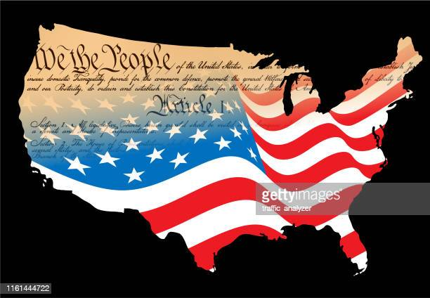 usa map - american constitution and flag - constitution stock illustrations