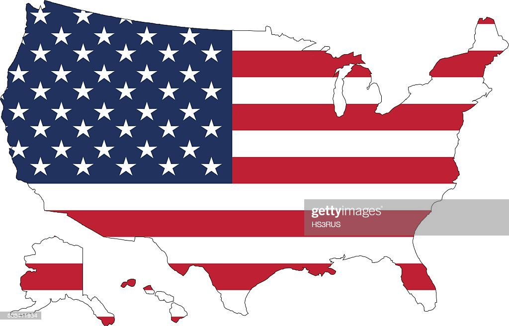 USA map and flag against