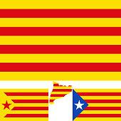 Map and flag of Catalonia. Blue estelada. Socialist Independentist red estelada.  Vector