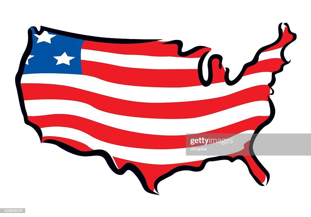 map and flag of USA