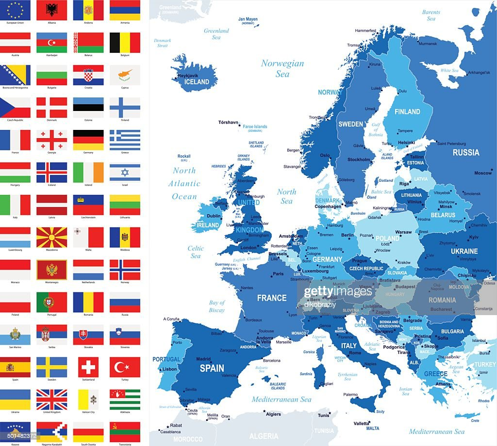 Map and Flags of Europe - Full Vector Collection