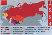 Map and Flags of the Republics of the Former USSR