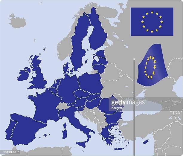europäischen union karte und flags (siehe beschreibung - europäische union stock-grafiken, -clipart, -cartoons und -symbole