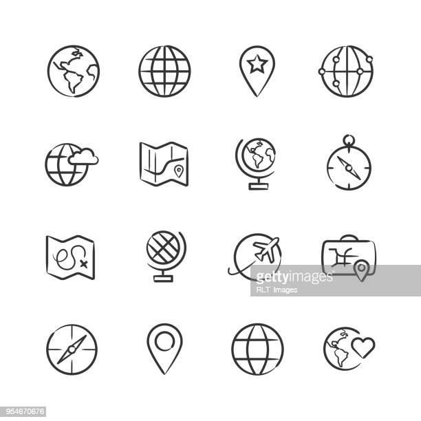 Map and Globe Icons — Sketchy Series