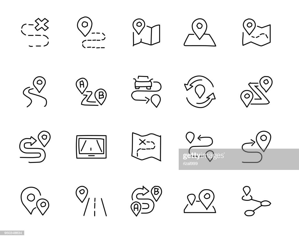 map and location hand drawn icon design illustration, line style icon