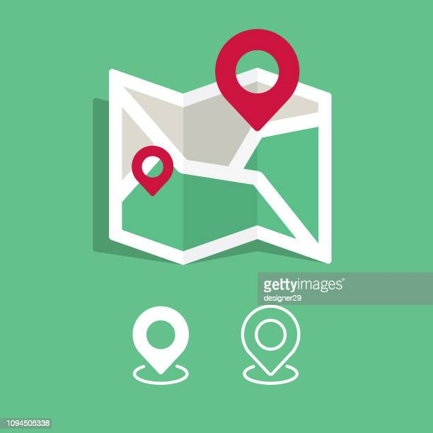 map and location icon design. flat design and white background. - putting stock illustrations