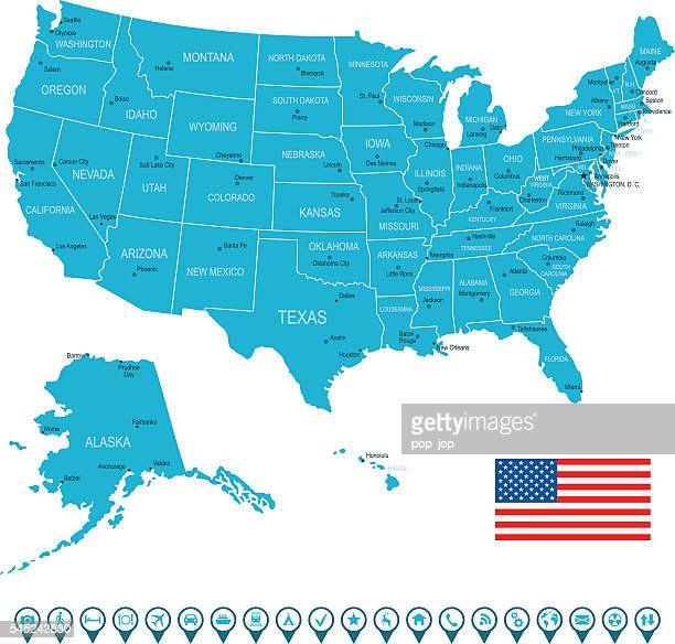 usa map and navigation icons - alabama stock illustrations, clip art, cartoons, & icons