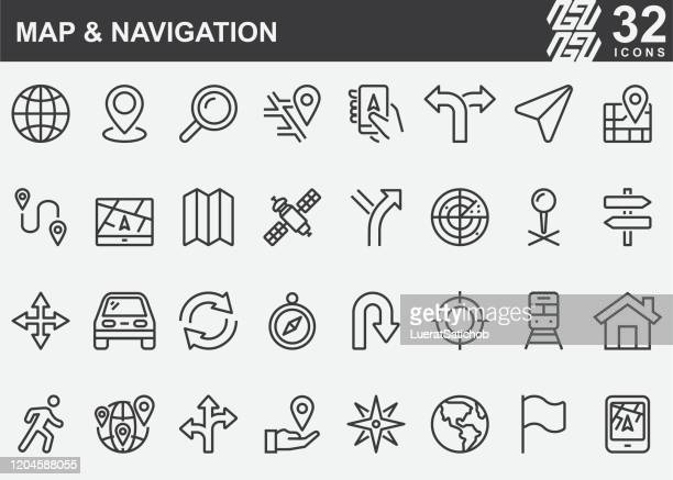 map and navigation line icons - distant stock illustrations