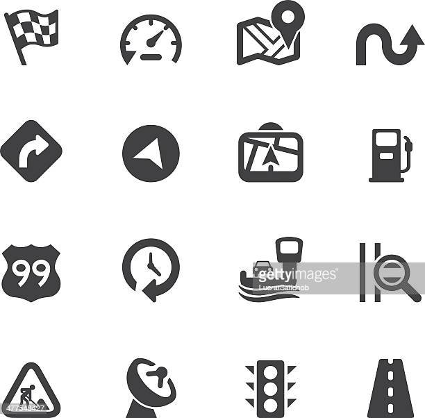 map and navigation silhouette icons - fuel pump stock illustrations, clip art, cartoons, & icons