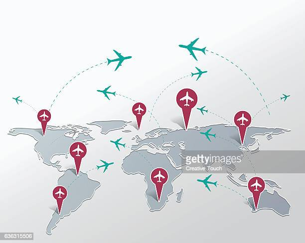 map and pins - airport terminal stock illustrations, clip art, cartoons, & icons
