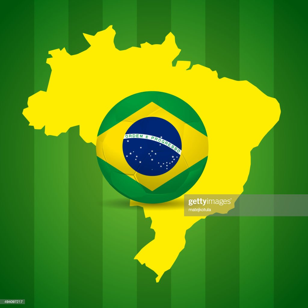 Map and Soccer ball of Brazil