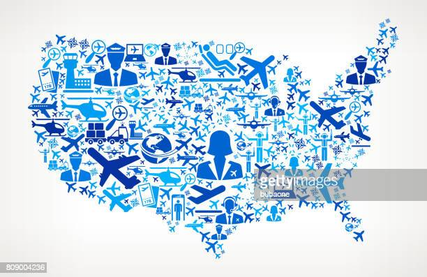 US Map Aviation and Air Planes Vector Graphic