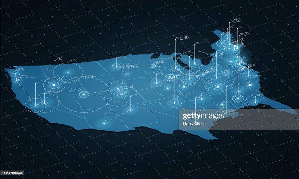 USA map big data visualization. Futuristic map infographic. Information aesthetics. Visual data complexity. Complex USA data graphic visualization. Abstract data on map graph.