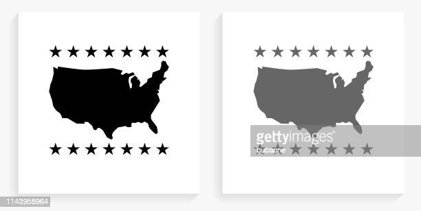 u.s.a map  black and white square icon - usa stock illustrations
