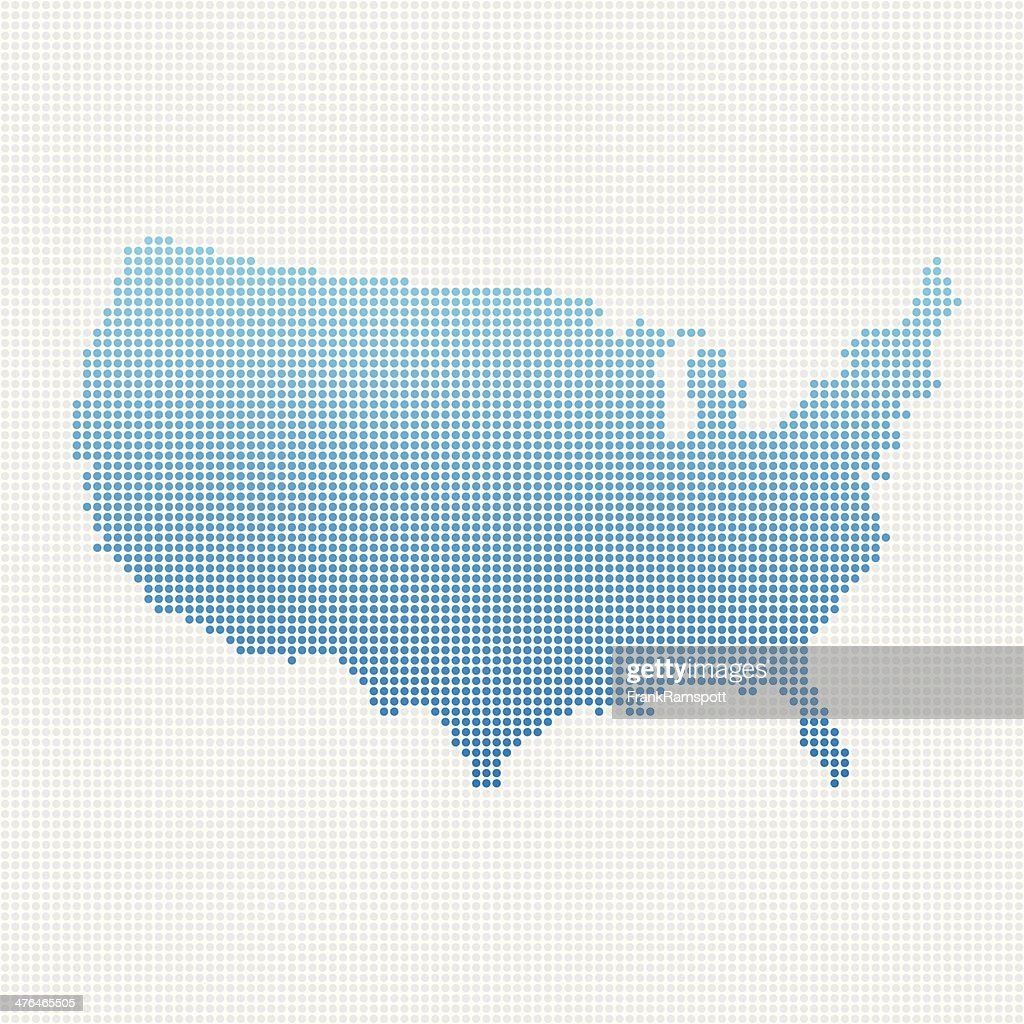 USA Map Blue Dot Pattern