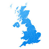 map blue of United Kingdom Vector