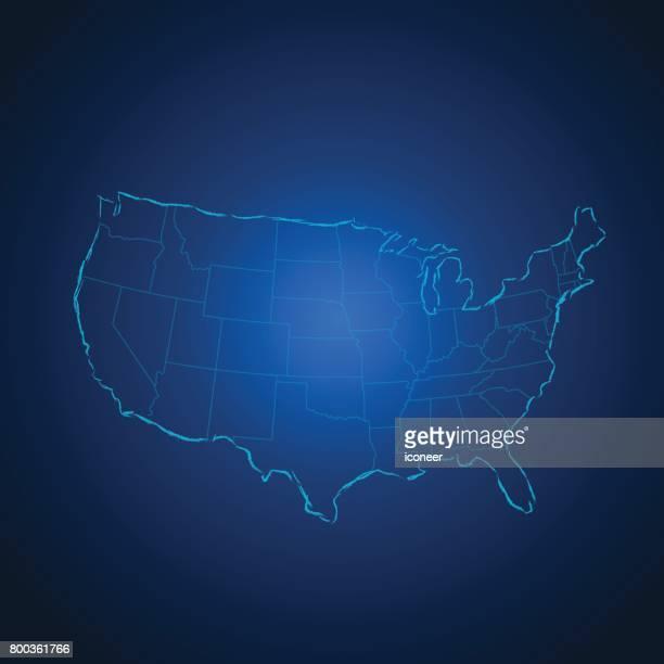 USA-Karte blau gradient Hintergrund