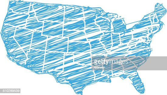 Usa Map Blue Sketch Vector Art Getty Images - Us map sketch