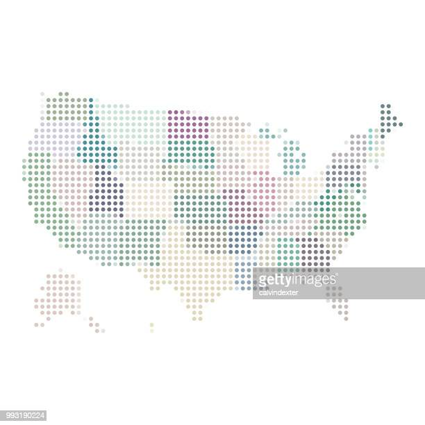 usa map built rounds shapes - alaska us state stock illustrations