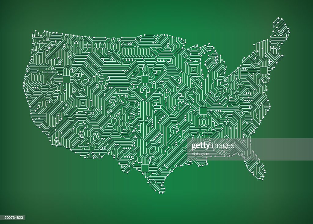 Usa Map Circuit Board Royalty Free Vector Art Background Vector - Us map free vector