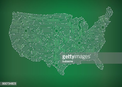 Usa Map Circuit Board Royalty Free Vector Art Background Vector - Vector map of us