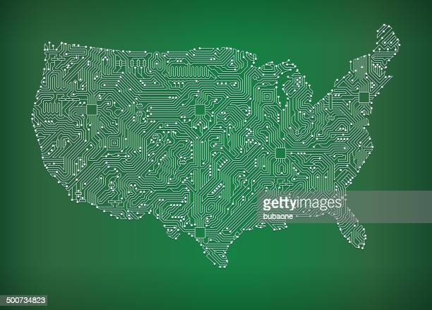 USA Map Circuit Board royalty free vector art background