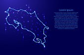 Map Costa Rica from the contours network blue, luminous space stars for banner, poster, greeting card, of vector illustration