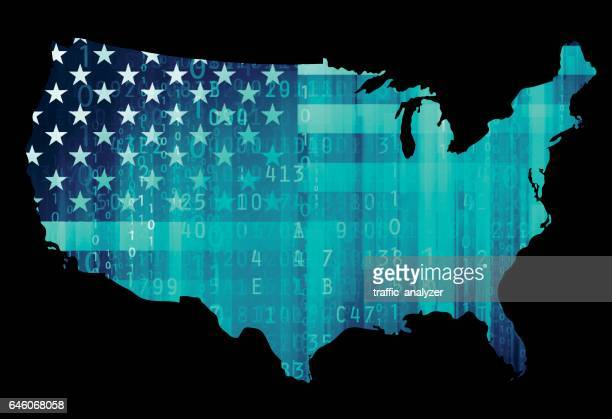 usa map - cyber security - russia stock illustrations