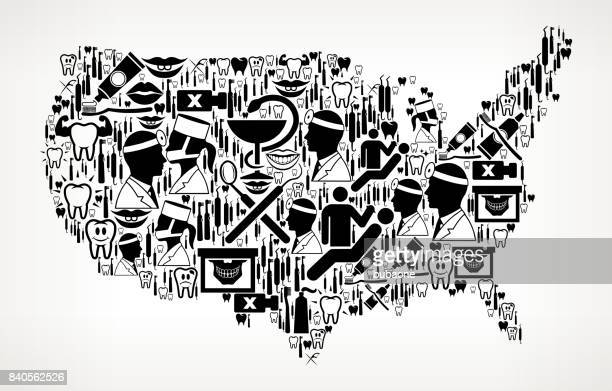 US Map Dentist and Dental Vector Icon Pattern