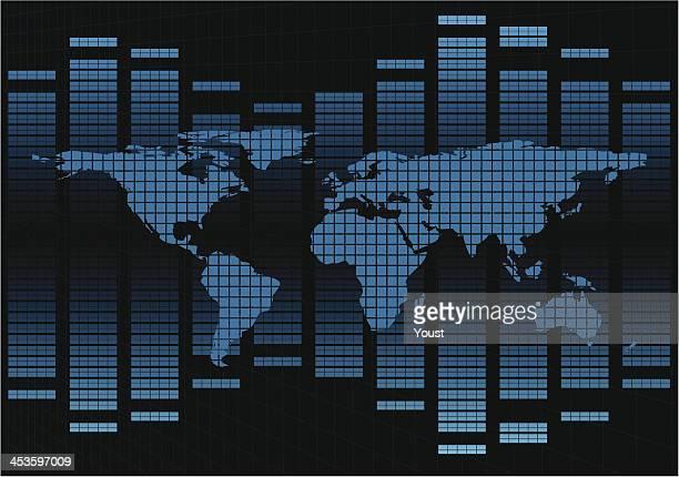 stockillustraties, clipart, cartoons en iconen met map diagram - oscilloscoop
